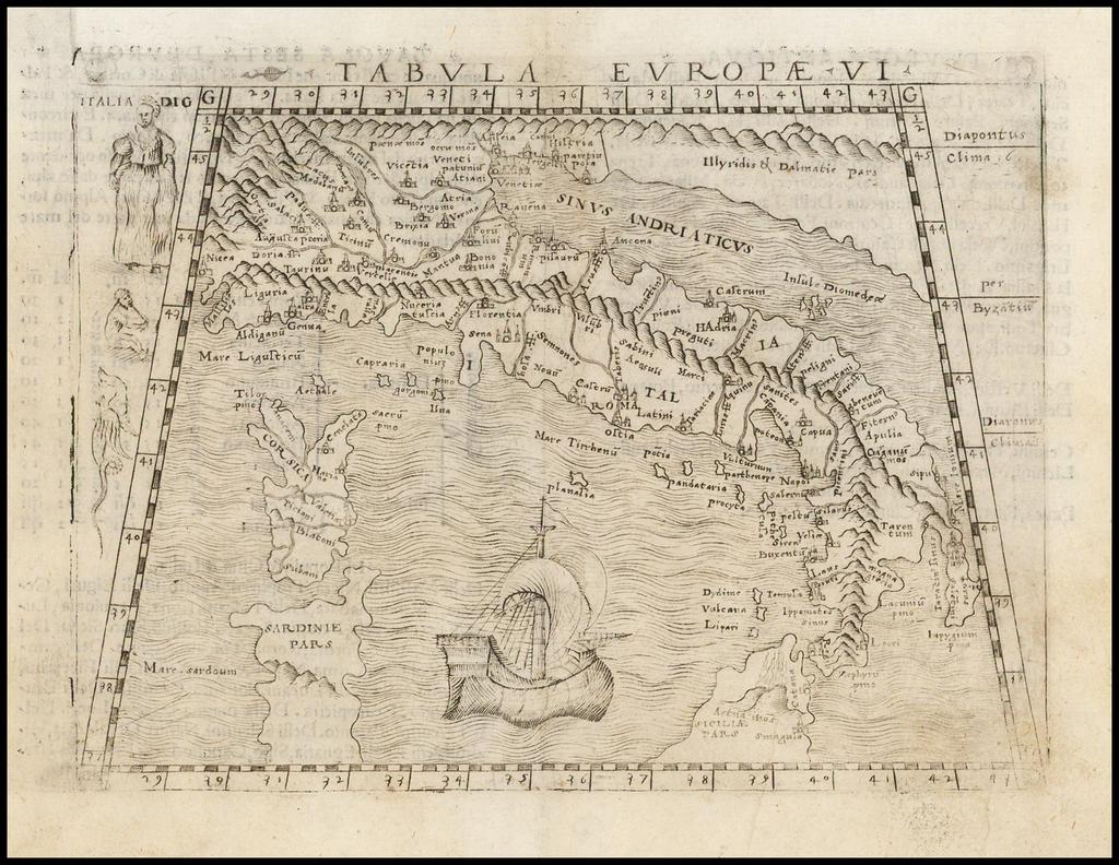 Tabula Europae VI   [Italy]  By Giacomo Gastaldi