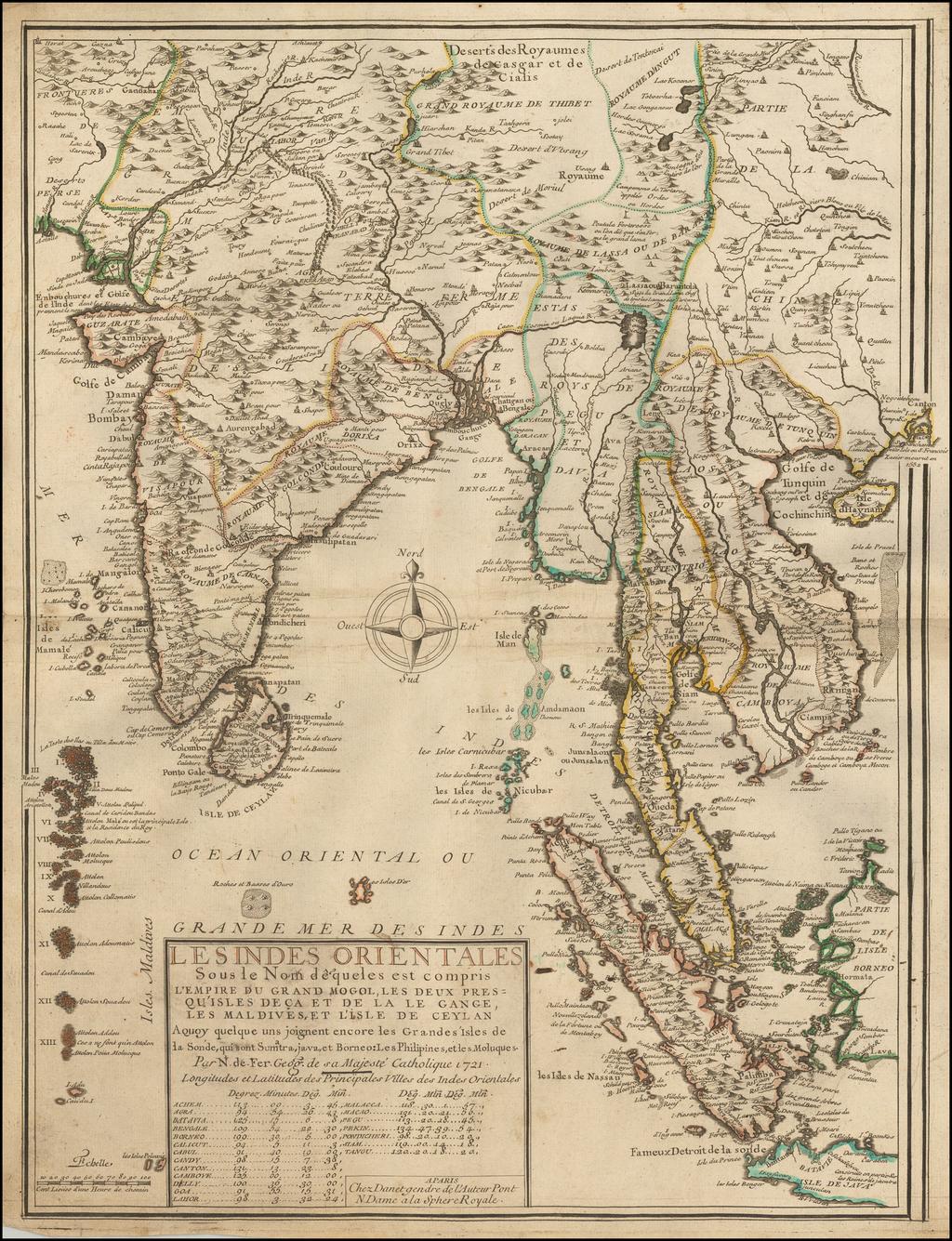 Les Indes Orientales sous le Nom de queles est compris L'Empire du Grand Mogol, Les Deux Presqu'Isles Deca et de la Le Gange, Les Maldives, et L'Isle de Ceylan . . . 1721 By Nicolas de Fer