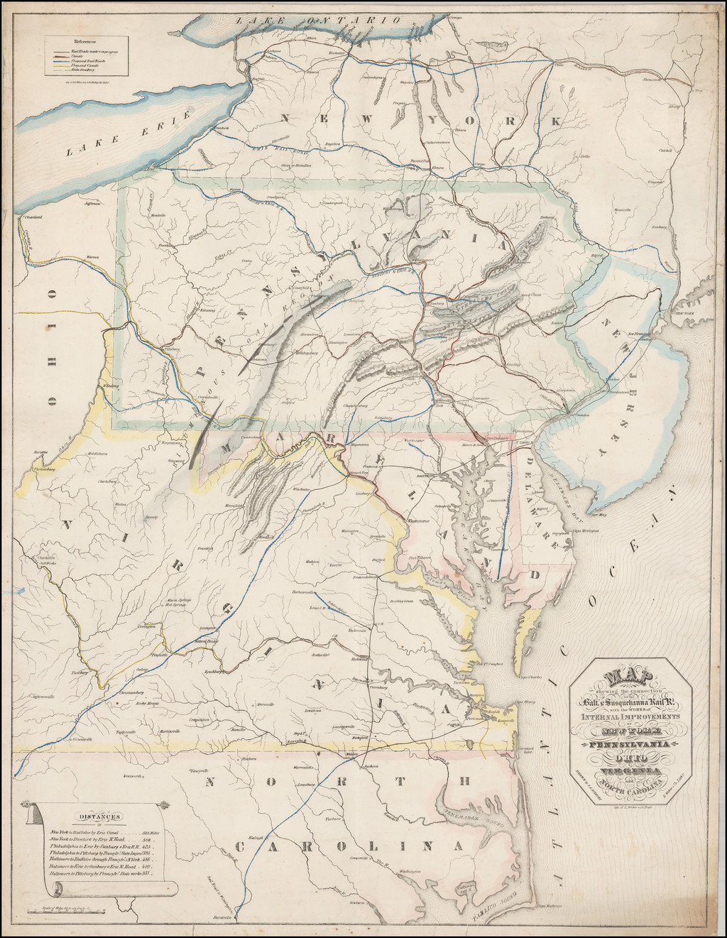Map shewing the connection of the Balt. & Susquehanna Rail-Rd. with the Works of Internal Improvements of New York Pennsylanvia Ohio Virginia and North Carolina. By I. A. Soiecki