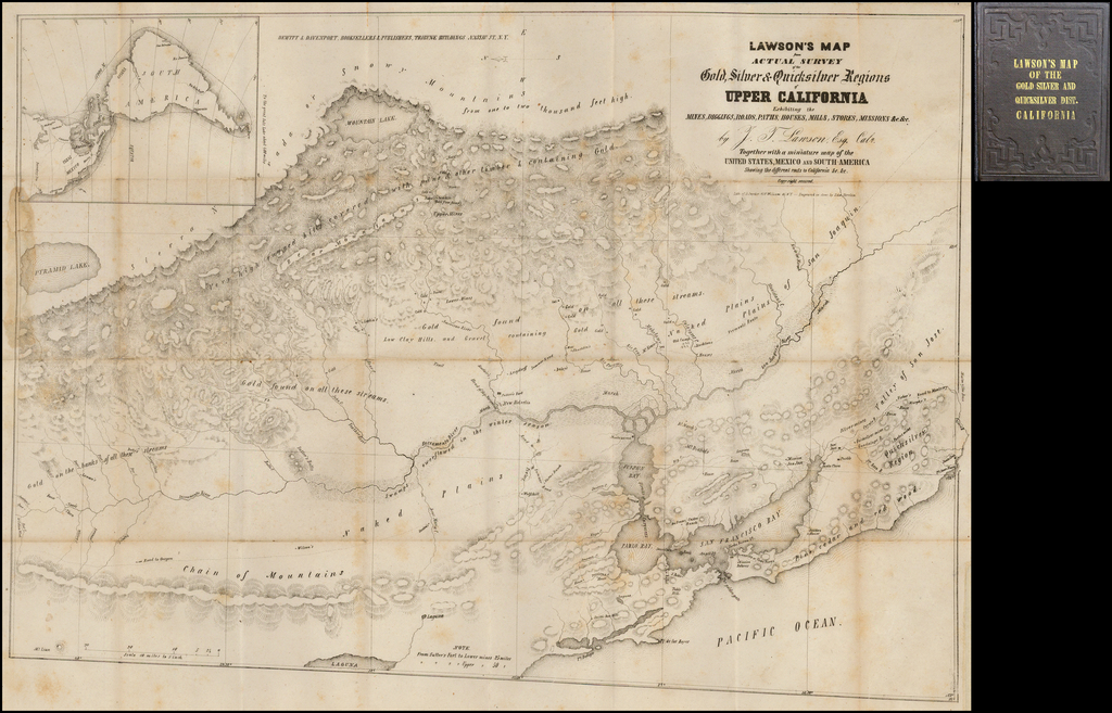 Lawson's Map from Actual Survey of the Gold, Silver & Quicksilver Regions of Upper California Exhibiting the Mines, Diggings, Roads, Paths, Houses, Mills, Missions &c. &c by J.T. Lawson, Esq. Cala. . . .  By John T. Lawson