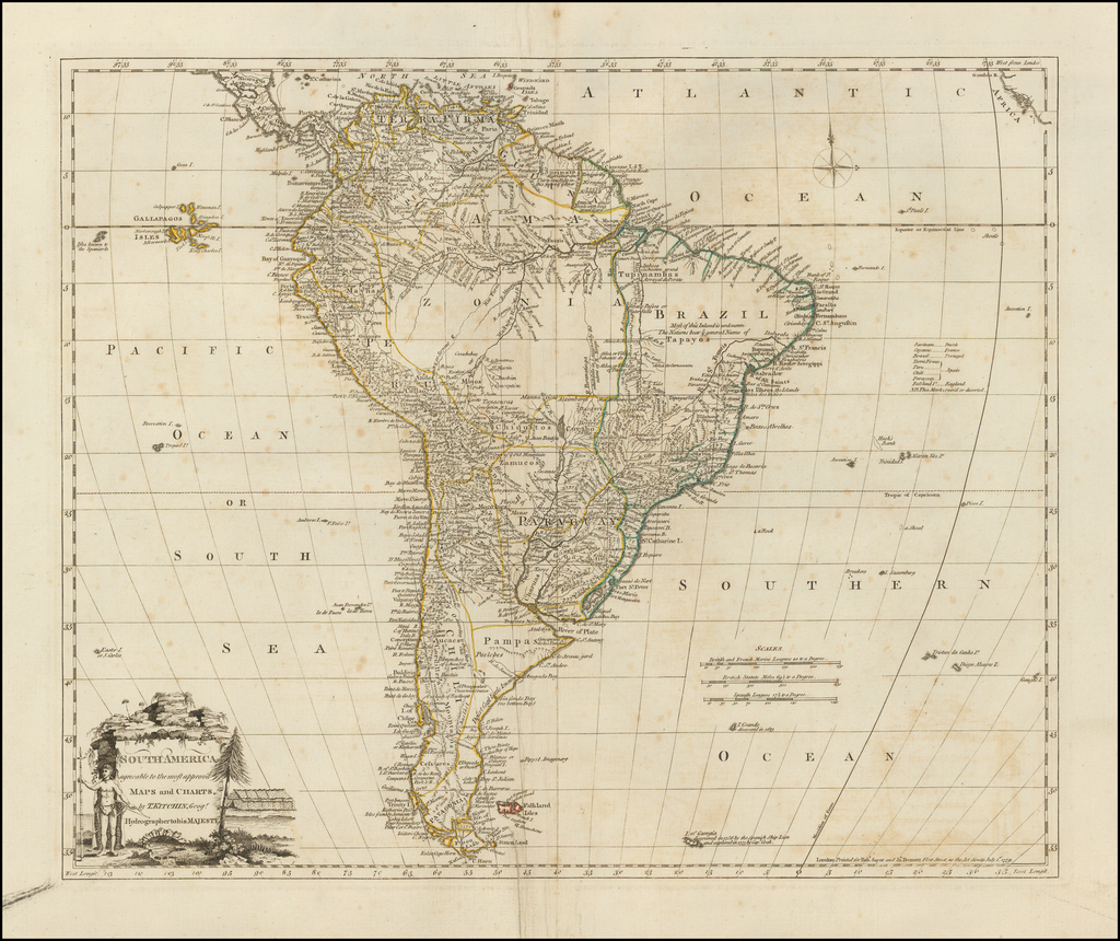 South America agreeable to the most approv'd Maps and Charts . . .  By Robert Sayer / John Bennett