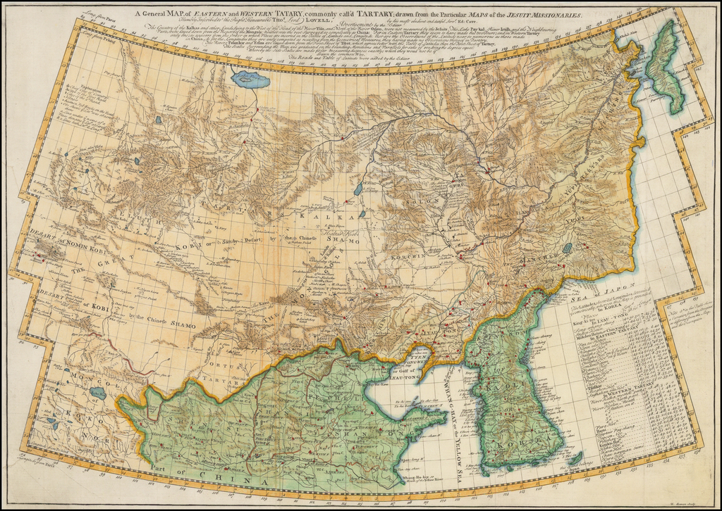 A General Map of Eastern and Western Tatary, commonly call'd Tartary; drawn from the Particular Maps of the Jesuit Missionaries.  Humbly Inscribed to the Right Honourable Thos. Lord Lovell, by his most obedient and dutiful Servt. Ed: Cave.   By Jean Baptiste Du Halde