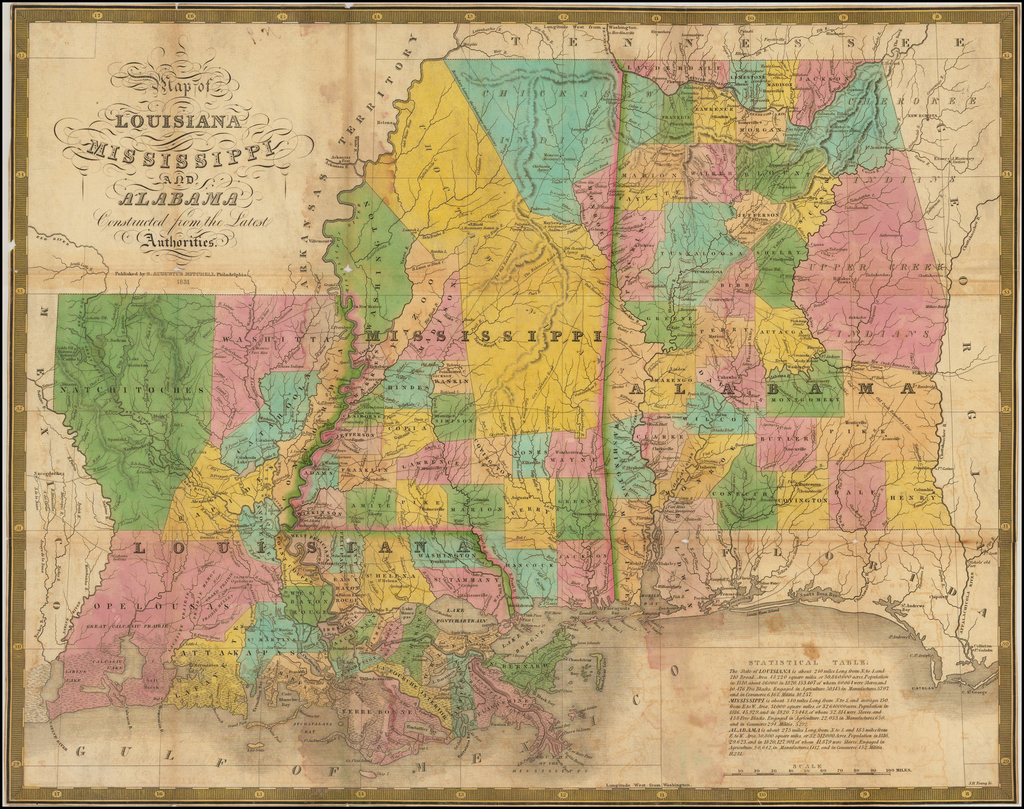 [Pocket Map] Map Of The States Of Louisiana, Mississippi & Alabama Constructed from the latest Authorities.  1831 By Samuel Augustus Mitchell