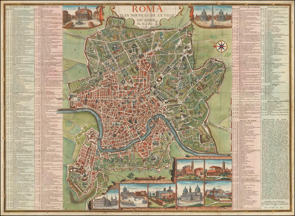 Roma  Plan Nouveau De La Ville De Rome . . . 1713 By Nicolas de Fer