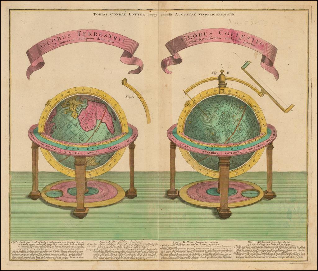 Globus Terrestris ad sphaeram obliquam delineatus / Globus Coelestis cum Astrodictico artificiali iunctus By Tobias Conrad Lotter