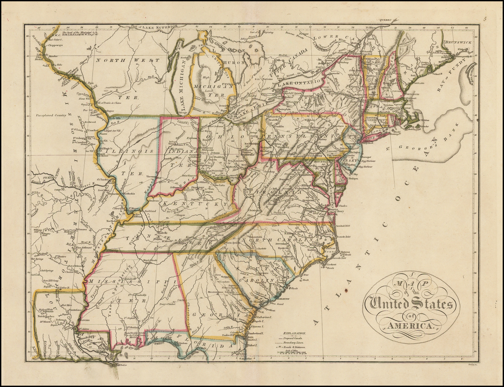 Map of the United States of America By Mathew Carey