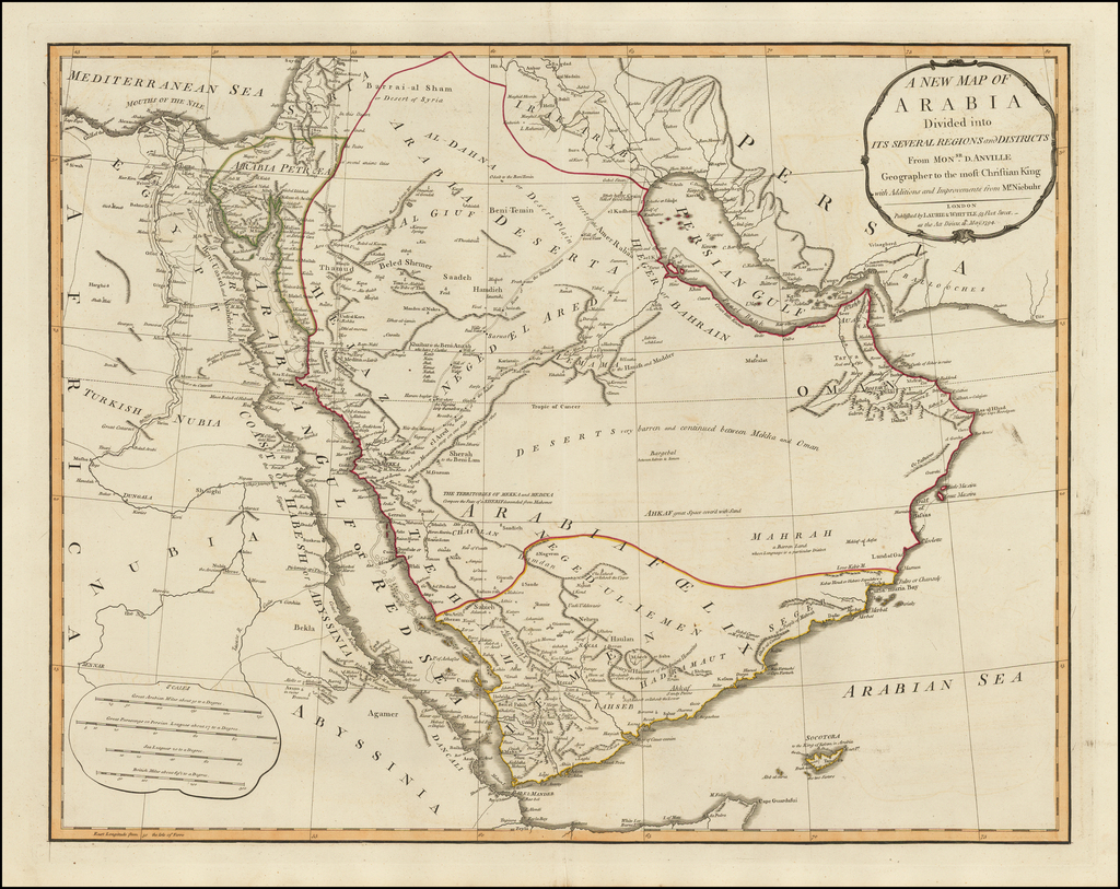 A New Map of Arabia, Divided Into Its Several Regions and Districts . . . 1794 By Laurie & Whittle