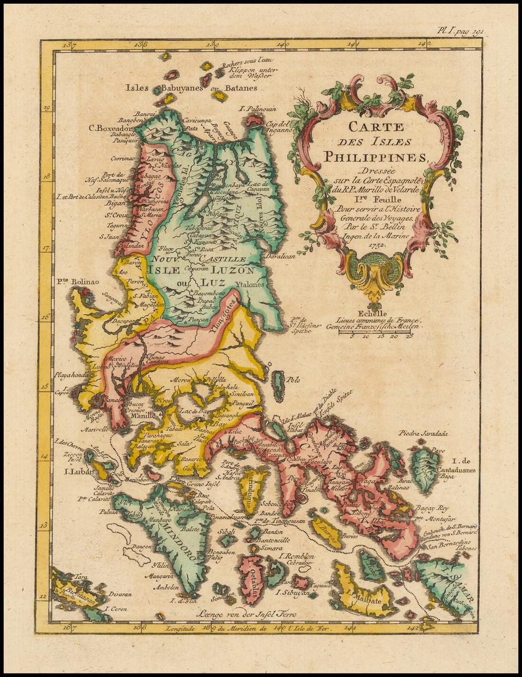 Carte Des Isles Philippines, Dressee sur la Carte Espagnole du R.P. Murillo de Velarde.  1re. Feuille . . . 1752 By Jacques Nicolas Bellin