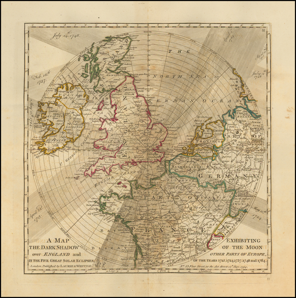 A Map Exhibiting the Dark Shadow of the Moon over England and Other Parts of Europe, In the Five Great Solar Eclipes, Of the Years, 1715, 1724, 1737, 1748 and 1764 . . .  By Laurie & Whittle