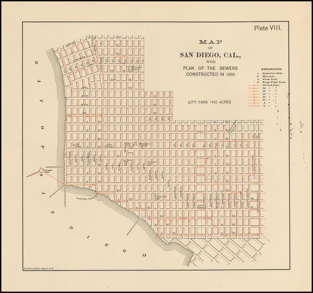 Map of San Diego, Cal.  With the Plan of the Sewers Constructed in 1888. By Struthers & Co.