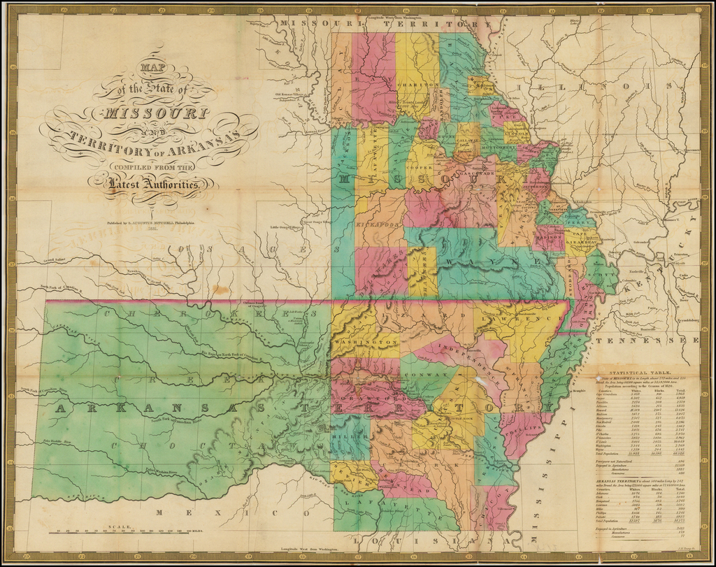 Map of the States of Missouri and Arkansas, and the Indian Territory Compiled From The Latest Authorities . . . 1831 By Samuel Augustus Mitchell