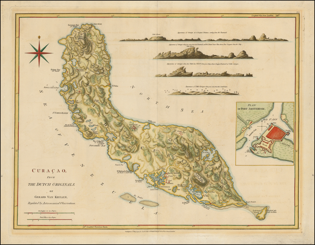 Curacao From The Dutch Originals of Gerard Van Keulen . . .  By Richard Holmes Laurie  &  James Whittle
