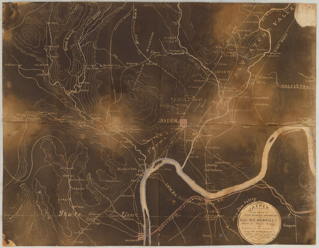 Jasper and Vicinity from General Information by Capt W.E. Merrill, Chief of Topograpical Engineers Printed in the Field by Capt. William Margedant's Quick Method for Field Map Printing. July 24, 1863 