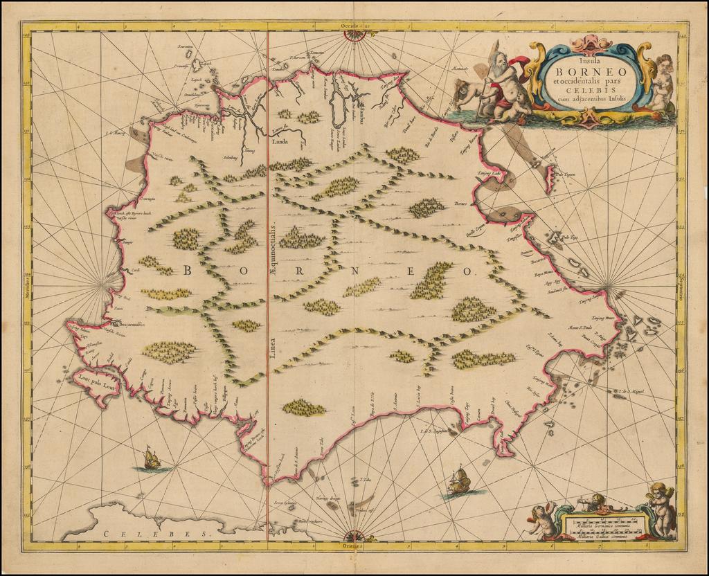 Insula Borneo et occidentalis pars Celebis cum adjacentibus Insulis By Jan Jansson