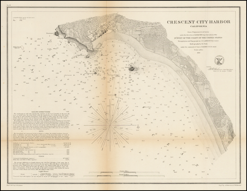Crescent City Harbor California  . . . 1859 By United States Coast Survey