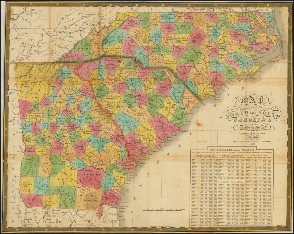 Map Of North and South Carolina And Georgia, Constructed from the Latest Authorities. 1831.    By Samuel Augustus Mitchell