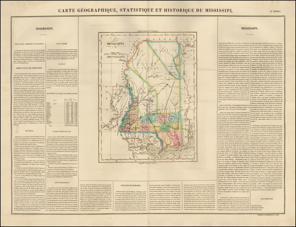 Carte Geographique, Statistique Et Historique Du Mississippi By Jean Alexandre Buchon