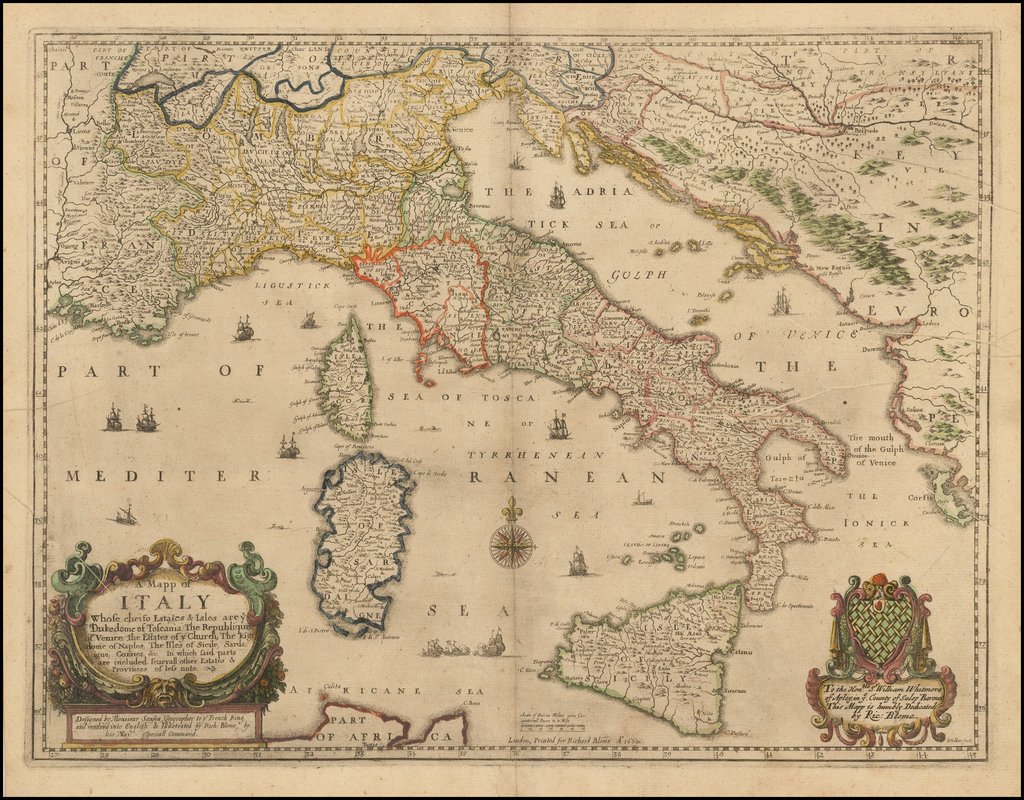 A Mapp of Italy whose cheife Estates & Isles are ye Dukedome of Toscania the Republique of Venice, the Estates of ye Church, The Kingdome of Naples, The Isles of Sicile, Sardagne, Corsica &c. In which said parts are included several other Estates & Provinces . . . 1669 By Richard Blome