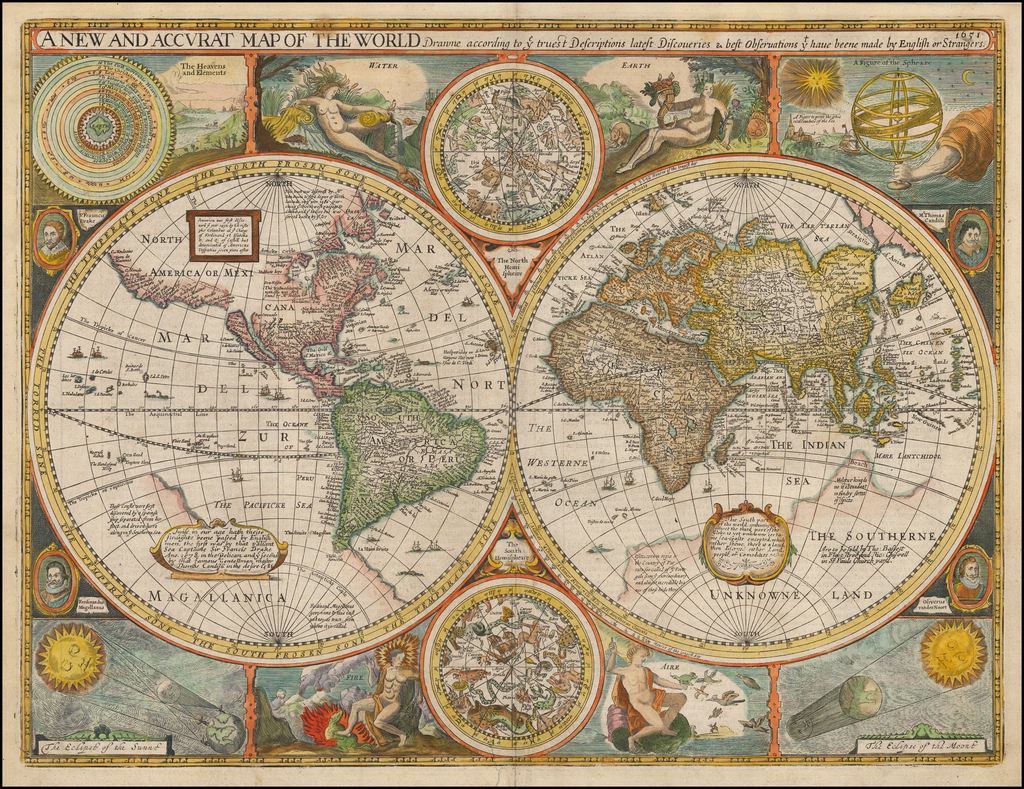 English Map Of The World.A New And Accurat Map Of The World Drawne According To Ye Truest