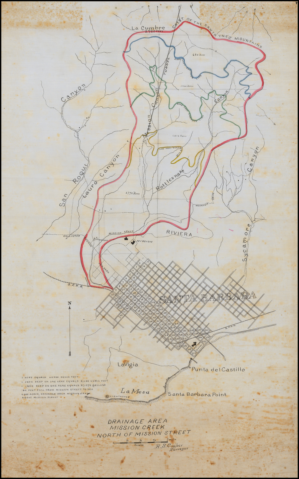 [Santa Barbara Manuscript Map]  Drainage Area Mission Creek North of Mission Street By A. S. Cooper