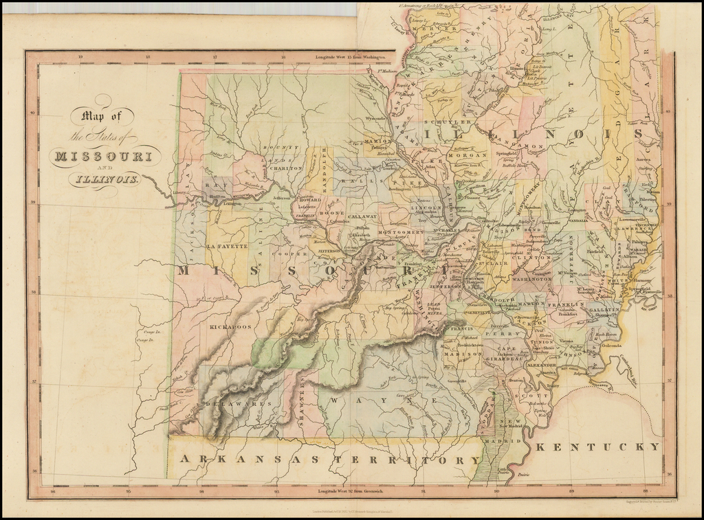 Map of the States of Missouri and Illinois By Hinton, Simpkin & Marshall