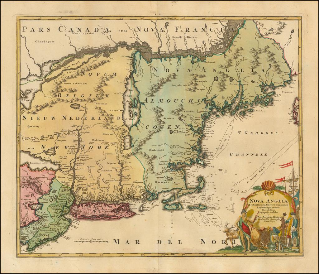 Nova Anglia Septentrionali Americae implantata Anglorumique coloniis florentissima . . . By Johann Baptist Homann