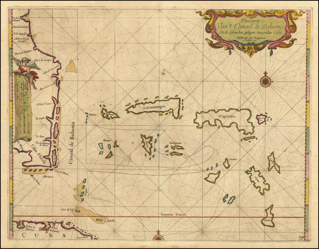 Pascaerte Van't Canael de Bahama, en de Eylanden gelegen benoorden Cuba.  Beschreven door Roggeveen. By Arent Roggeveen / Jacobus Robijn