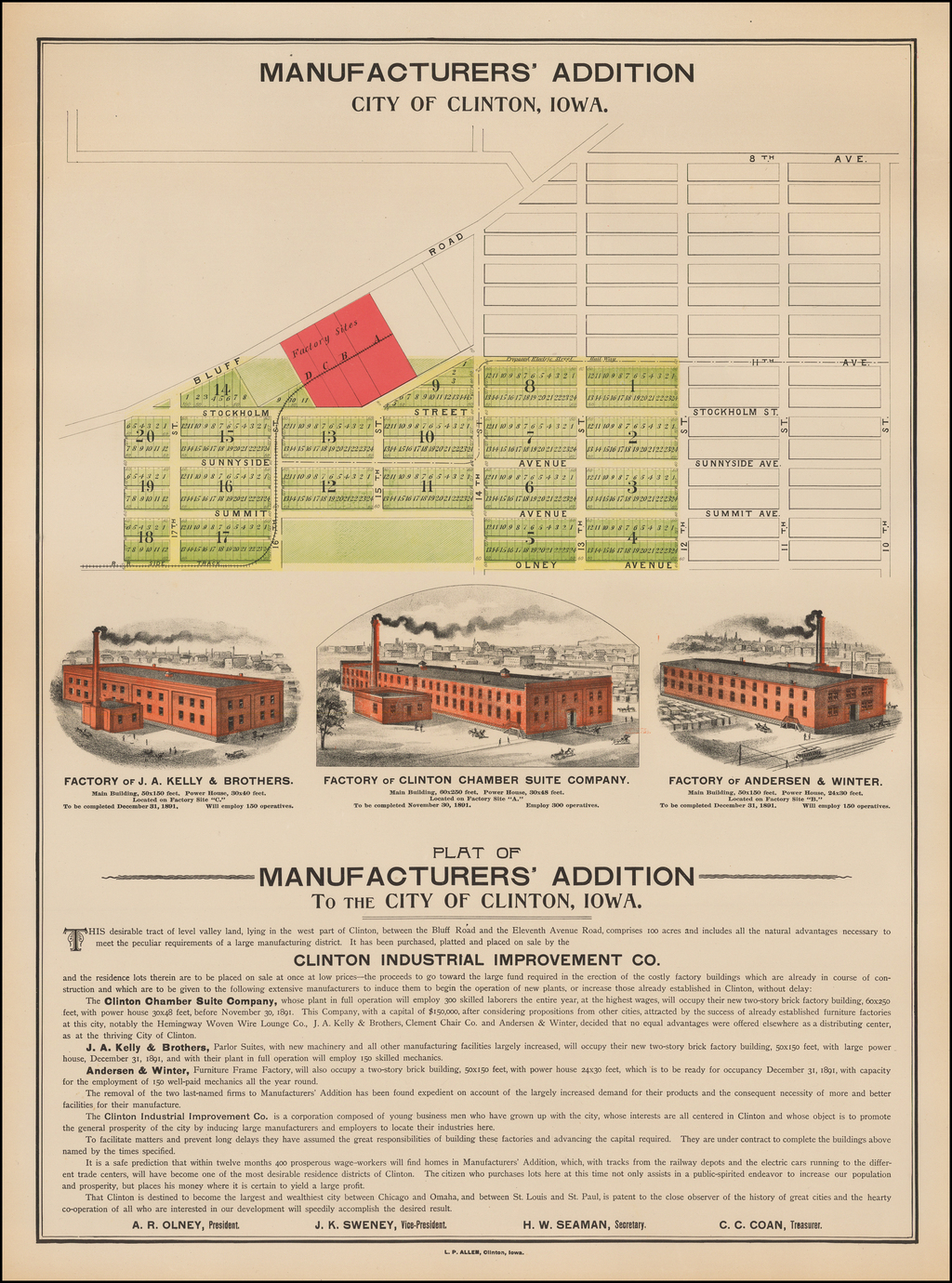 Manufacturers' Addition.  City of Clinton, Iowa. By L. P. Allen