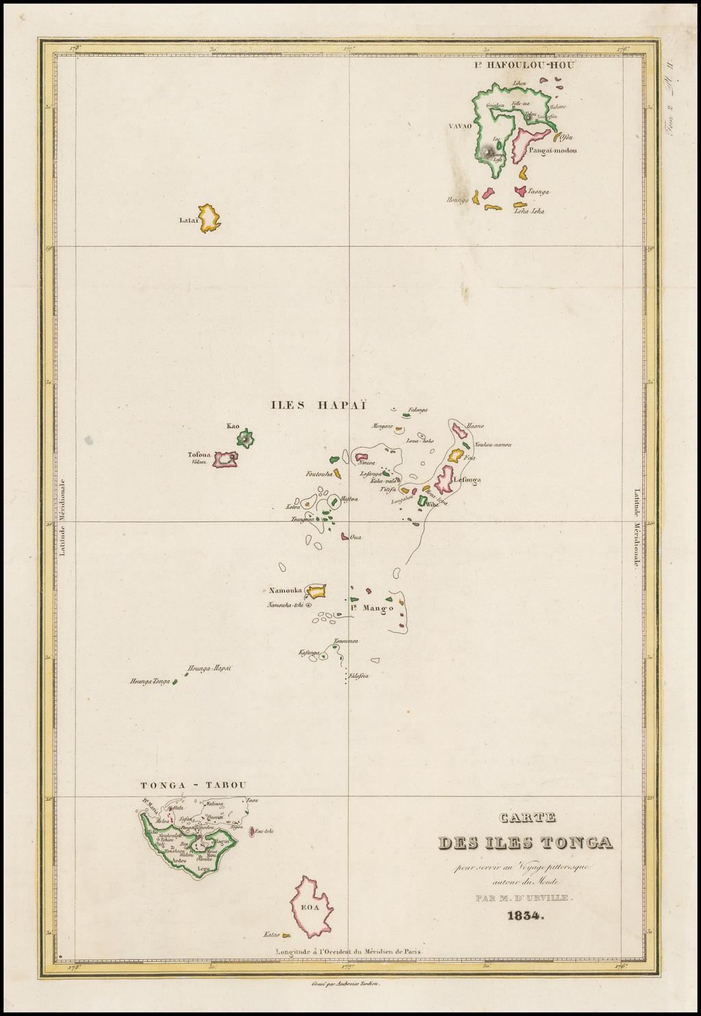 Carte Des Iles Tonga . . . 1834 By Jules Sebastian Cesar Dumont-D'Urville