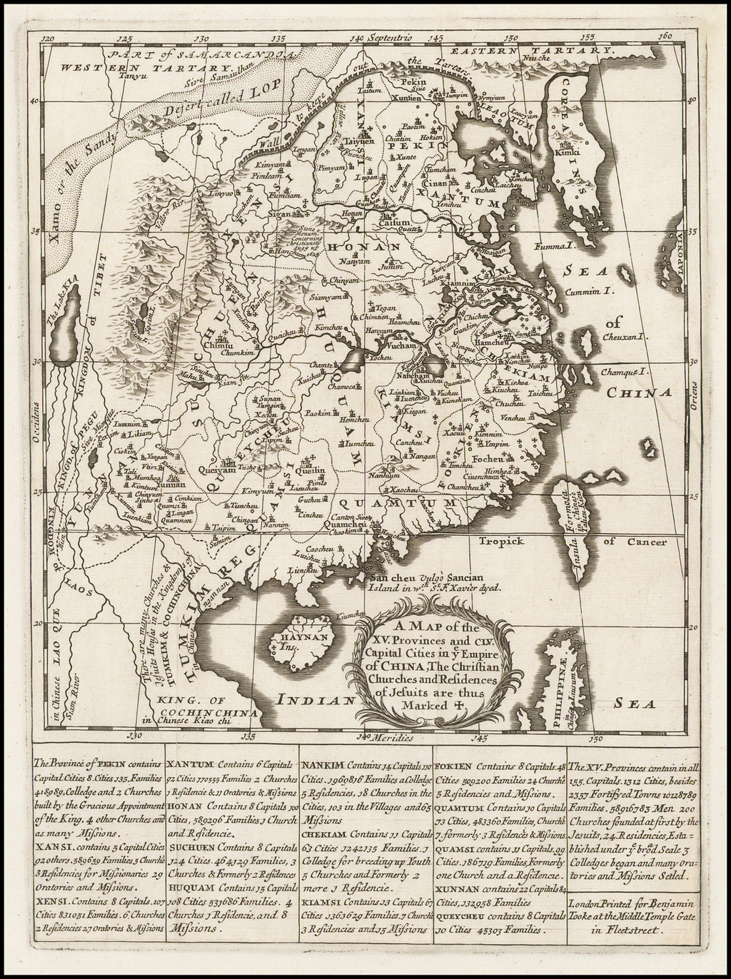 A Map of the XV Provinces and CLV Capital Cities in ye Empire of China, The Christian Churches and Residences of Jesuits are marked + By Benjamin Tooke