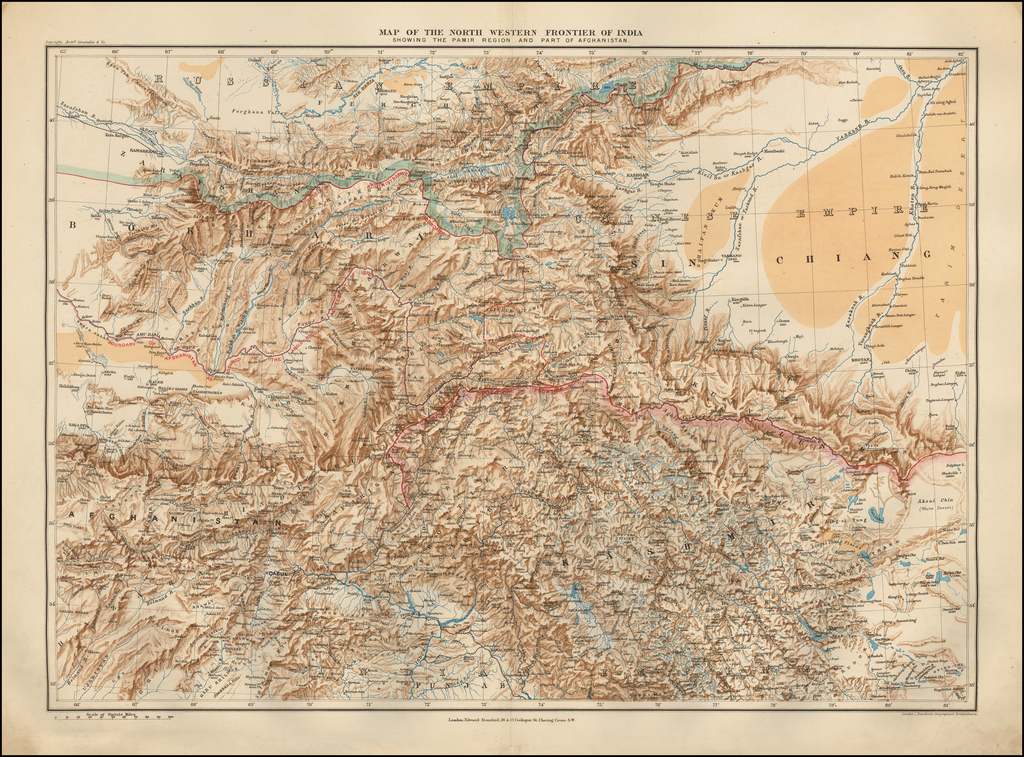 Map of the North Western Frontier of India Showing the Pamir Region and Part of Afghanistan By Edward Stanford
