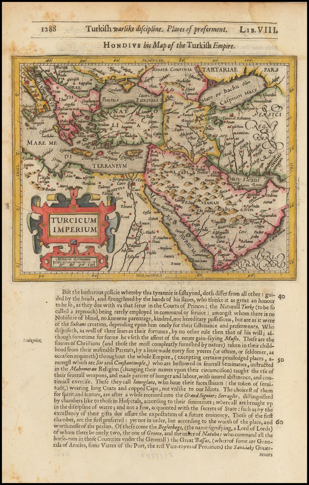 Turcicum Imperium By Jodocus Hondius / Samuel Purchas