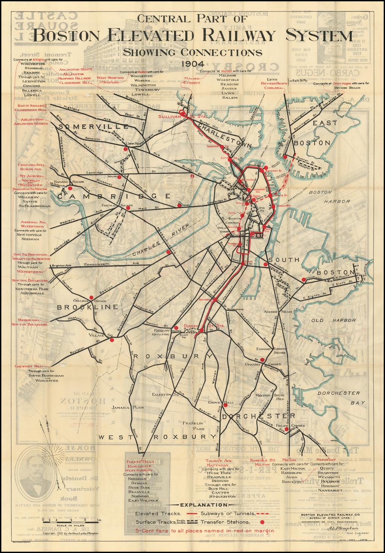 Central Part of Boston Elevated Railway System Showing Connections.  1904 By Boston Elevated Railway Co. / Arthur Leslie Plimpton