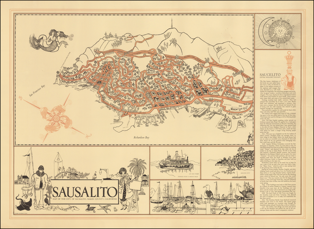 Sausalito.  Map of the City of Sausalito, Marin County, California By Joanne W. Davis