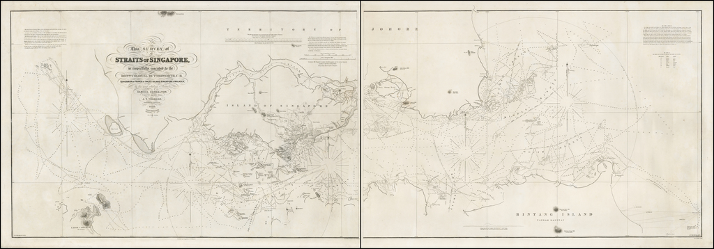 This Survey of the Straits of Singapore is respectfully inscribed to the Honble Colonel Butterworth, C.B. Governor of Prince of Wales Island, Singapore and Malacca, by his most obedient Servants, Samuel Congalton. . . and J.T. Thomson, Government Surveyor, 1846. . . Additions to 1855. By Samuel Congalton  &  John Turnbull Thomson