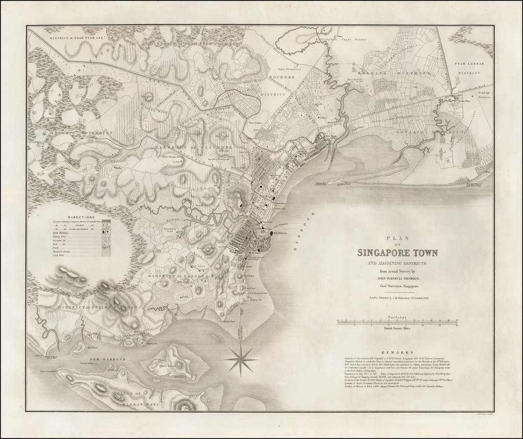 Plan of Singapore Town and Adjoining Districts from actual Survey by John Turnbull Thomson, Govt. Surveyor, Singapore . . . 1846 By John Turnbull Thomson