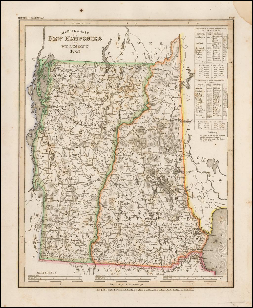 Neueste Karte von New Hampshire und Vermont 1846 By Joseph Meyer