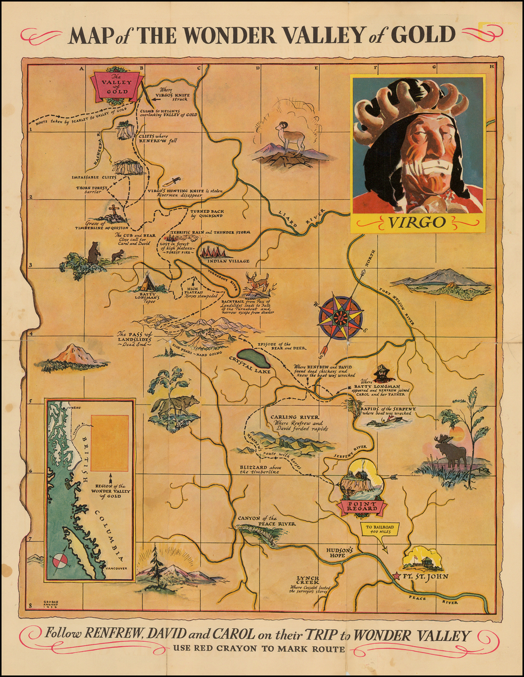 Map of the Wonder Valley of Gold -- Follow Renfrew, David and Carol on their Trip to Wonder Valley . . .  By George Annand