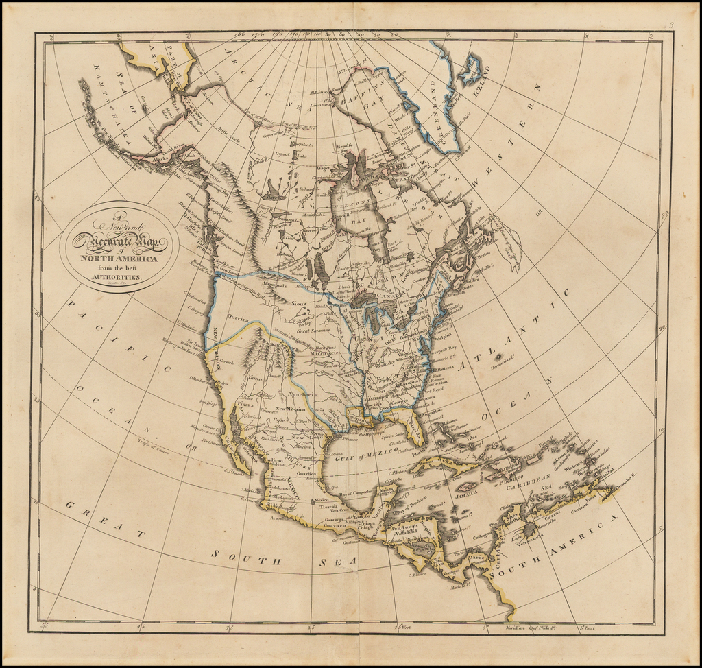 A New and Accurate Map of North America from the best Authorities By Mathew Carey