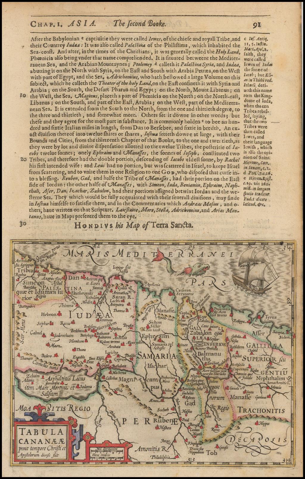 Tabula Cananaeae prout tempore Christi et Apolstolurum divisa suit By Jodocus Hondius / Samuel Purchas