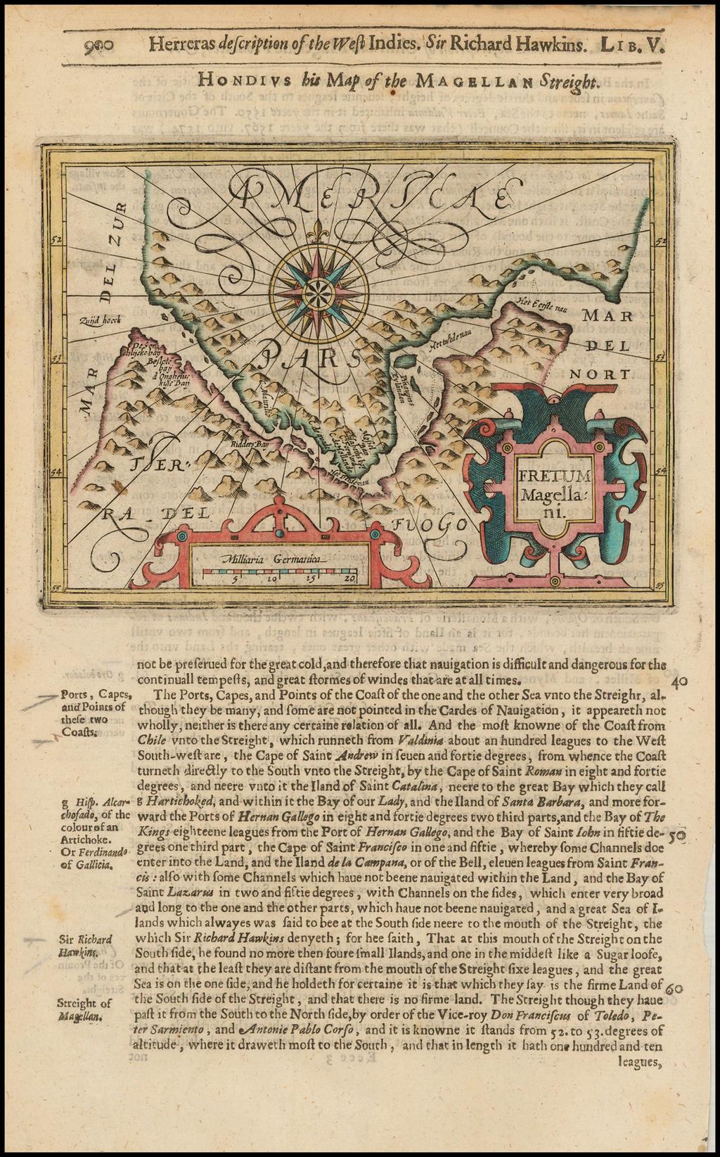 Fretum Magellani By Jodocus Hondius / Samuel Purchas