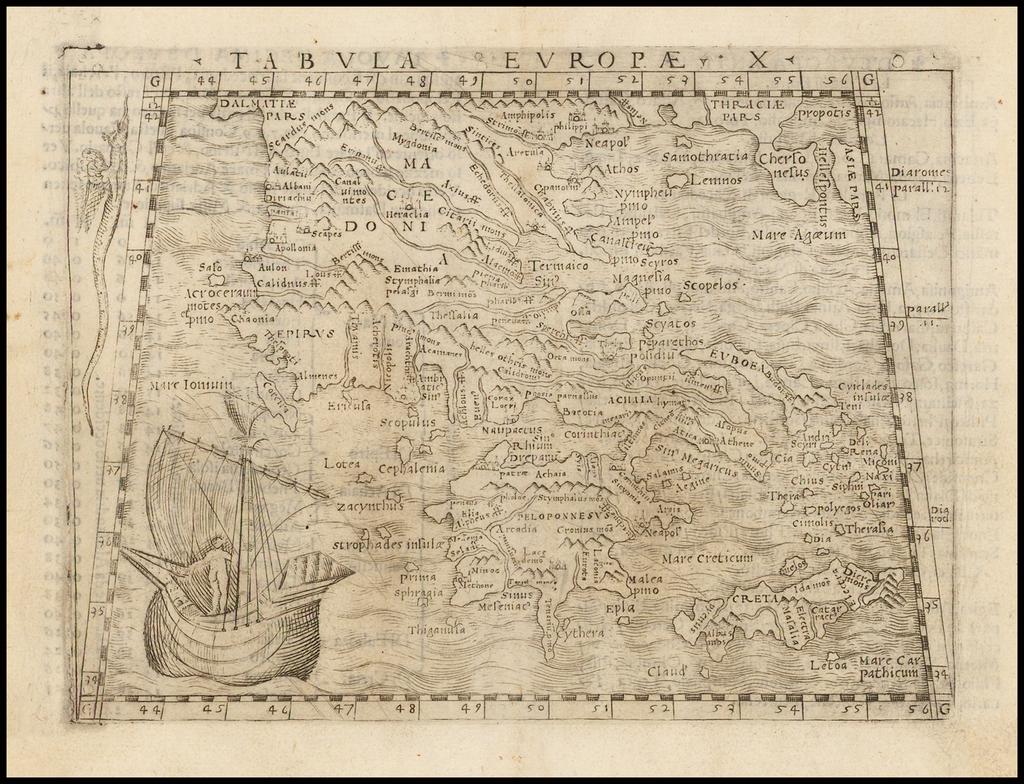 Tabula Europae X [Greece] By Giacomo Gastaldi