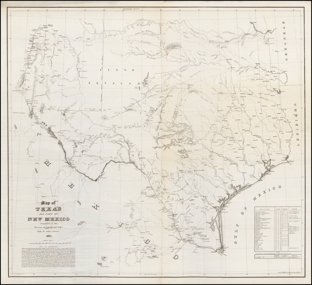 Map of Texas and Part of New Mexico compiled in the Bureau of Topographical Eng'rs. chiefly for military purposes. 1857 By United States Bureau of Topographical Engineers