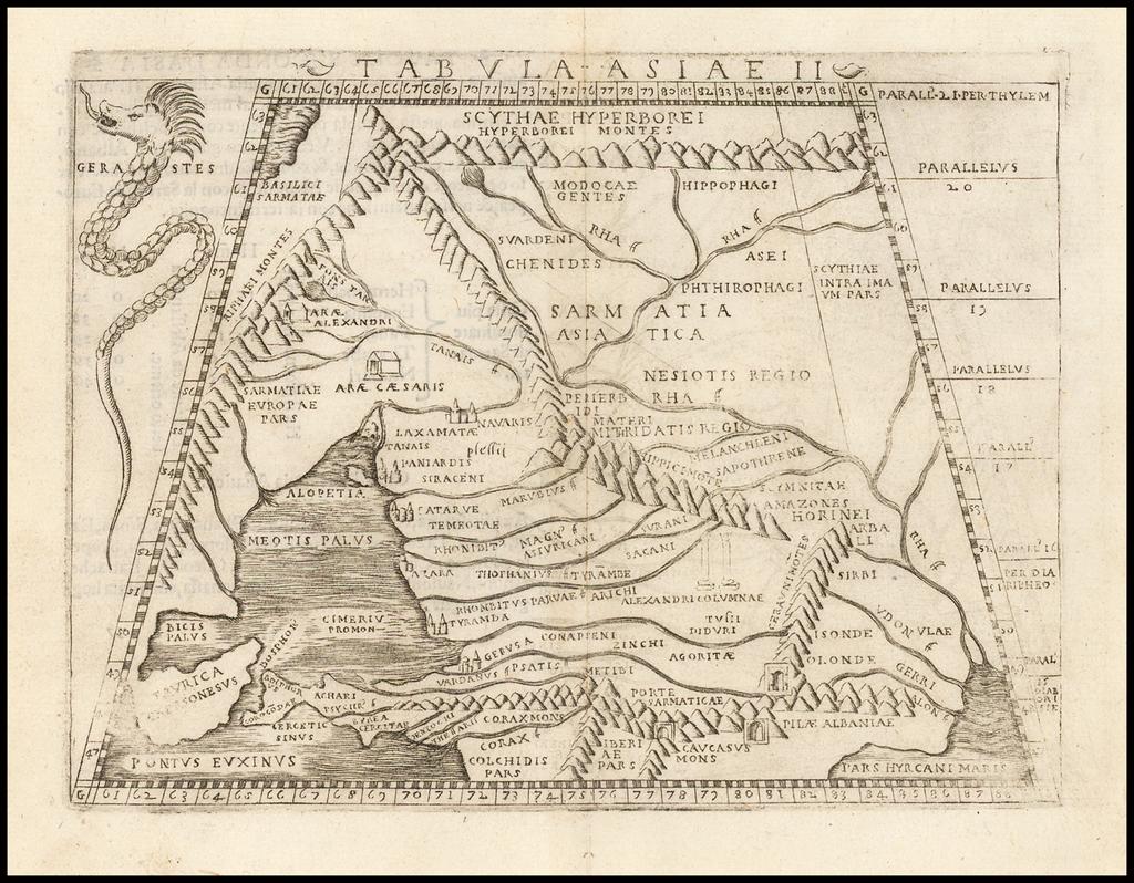 Tabula Asiae II ((Ukraine, Russia, Georgia, Armenia) By Giacomo Gastaldi