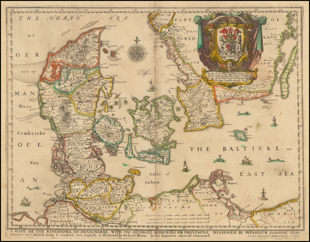 A Mapp of the Kingdome of Dennmarke With Its Severall Dioceses or Provinces . . . 1667 By Richard Blome