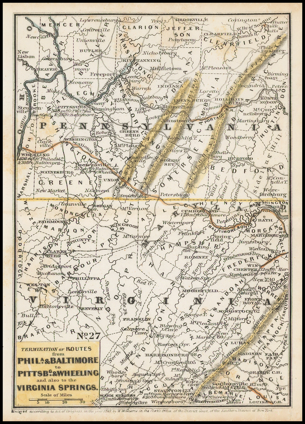 Termination of Routes From Phila. & Baltimore to Pittsbg. & Wheeling and also to Virginia Springs By Anonymous