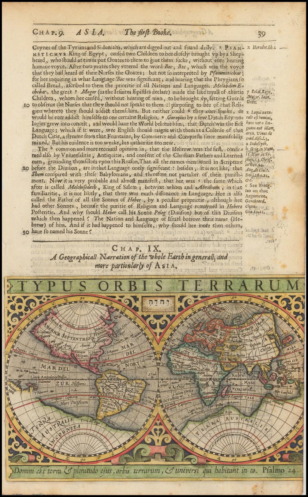 Typus Orbis Terrarum By Jodocus Hondius / Samuel Purchas