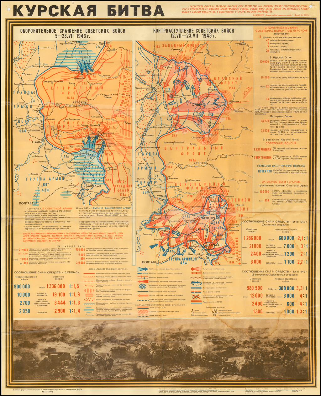 Курская битва (Battle of Kursk)  [Russian Educational Wall Map -- 1943] By CCCP Ministers Dept of Topography & Cartography