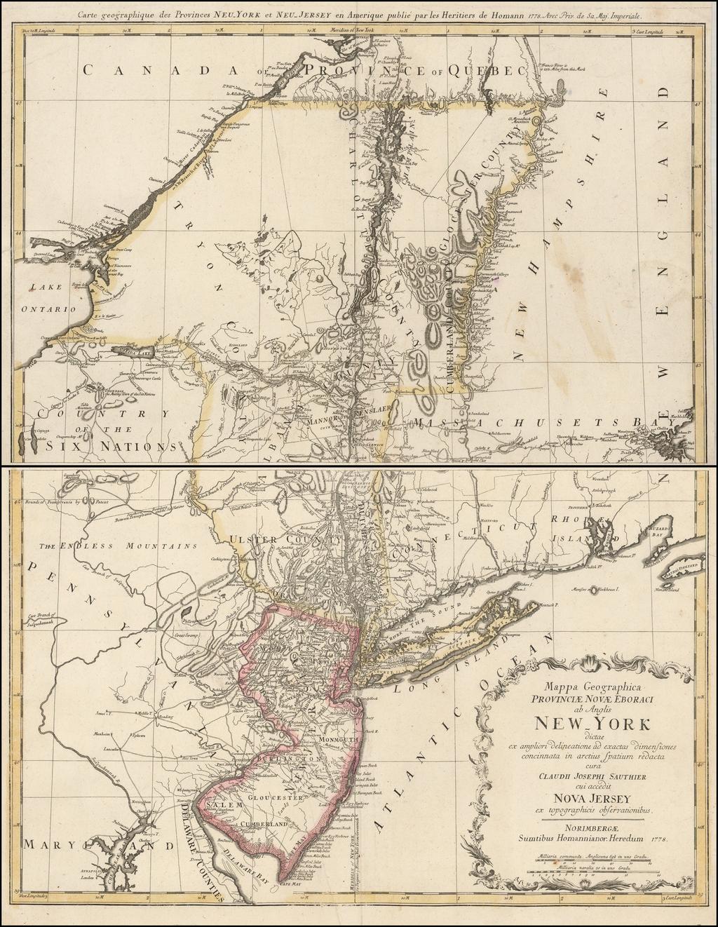 Mappa Geographica Provinciae Novae Eboraci ab Anglis New-York… Claudii Josephi Sauthier cui Accedit Nova Jersey ex topgraphicis . . . 1778 By Homann Heirs / Claude Joseph Sauthier
