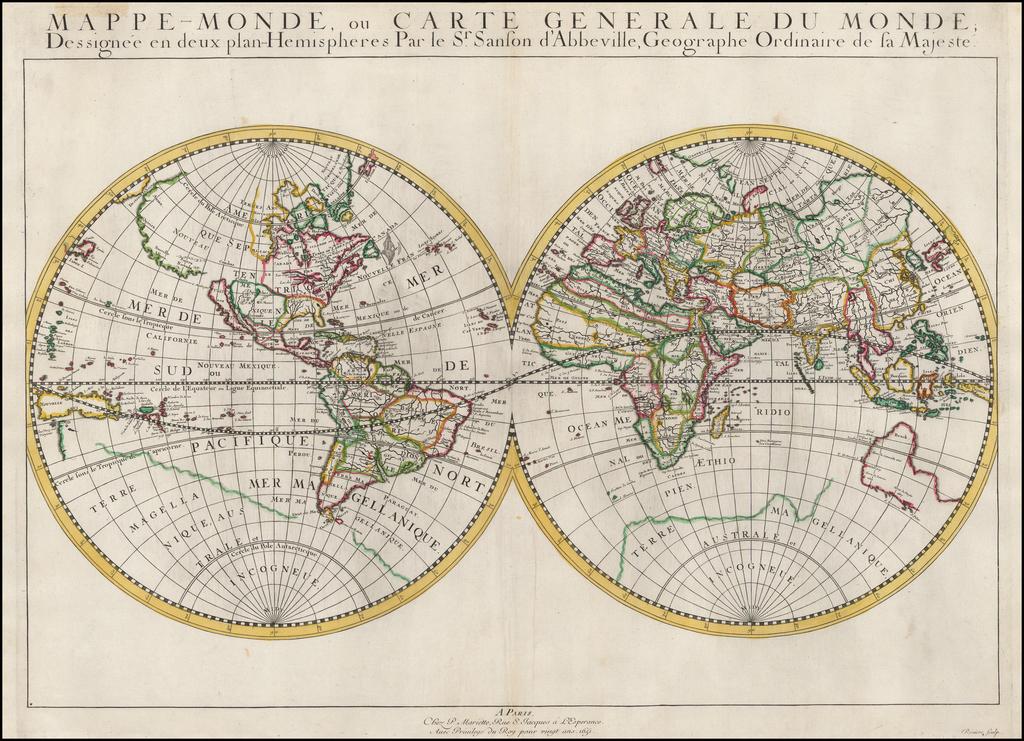 Mappe-Monde, ou Carte Generale Du Monde; Dessignee en deux plan-Hemispheres par le Sr. Sanson d'Abbeville, Geographe Ordinaire de la Majeste . . . 1651 By Nicolas Sanson